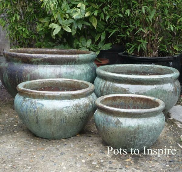 Extra Large Opal Green Glazed Low Bowl Planters Garden Pot