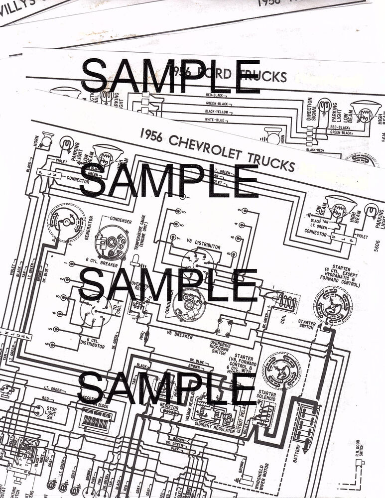 1956 WILLYS JEEP CJ-5 4 CYLINDER 56 WIRING GUIDE DIAGRAM