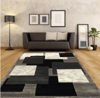 New Large Silver Black Modern Living Room Rugs Grey Hall ...
