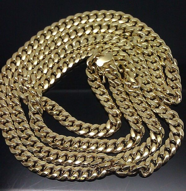 Box Clasp Real 10k Yellow Gold Cuban Link Chain Necklace 6mm 30