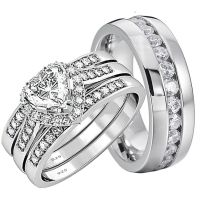 His and Hers Wedding Rings 4 pcs Engagement Sterling ...