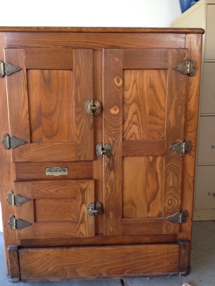 Vintage Antique Oak Polar King Ice Box Refrigerator  eBay
