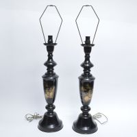 Japanese Asian Table Lamps Engraved Brass Vintage Pagoda ...