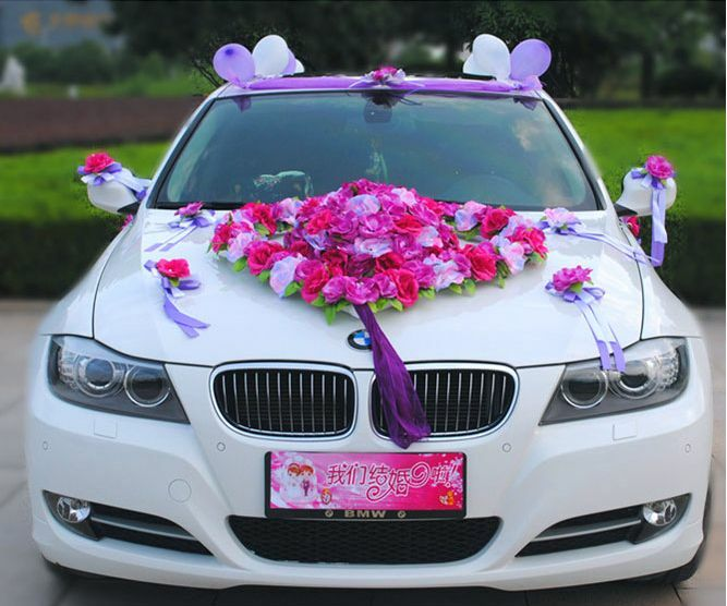 Flower Festooned vehicle wedding car decoration kit Korean