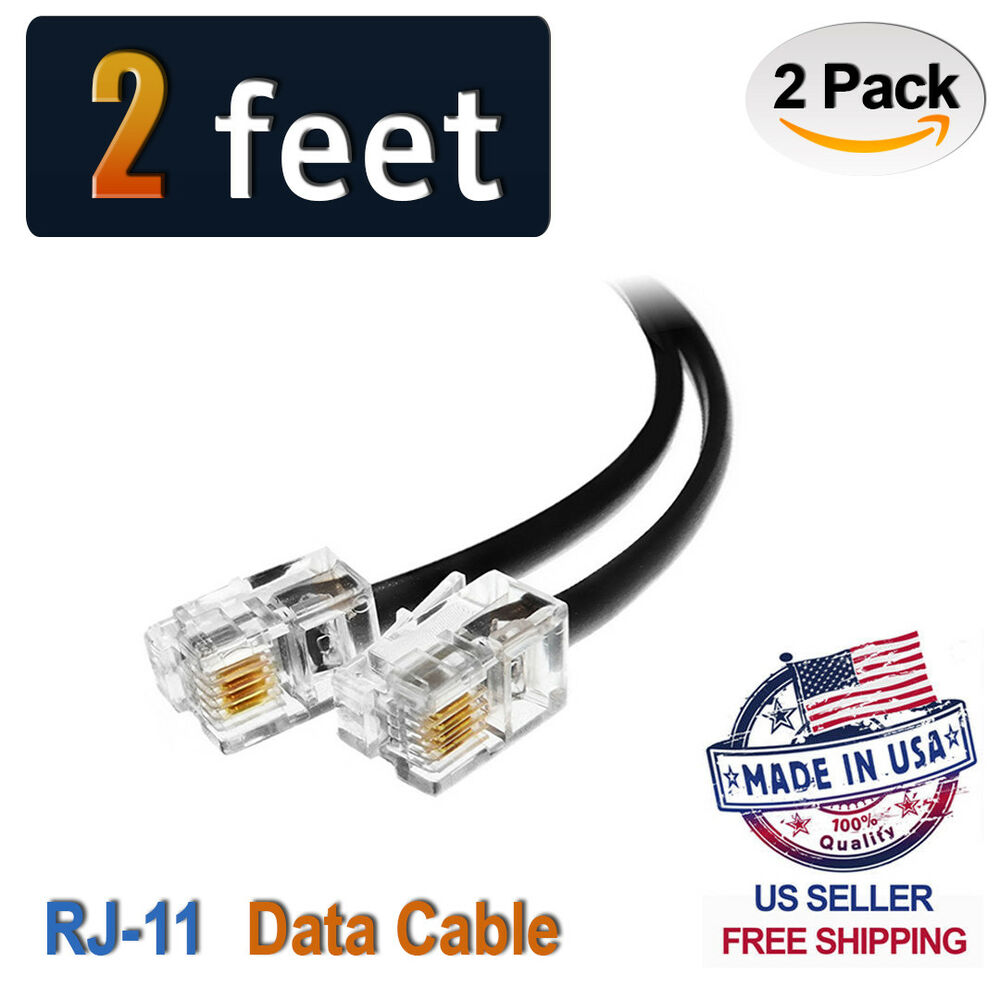 hight resolution of details about 2 pack 2 feet black rj11 6p4c data cable 24 straight wiring 2ft