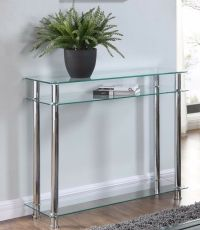 Glass Console Table Clear or Black Glass Chrome Legs 2 ...