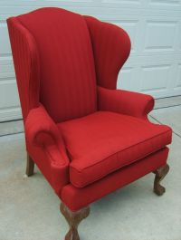 Ethan Allen red upholstered wingback chair | eBay
