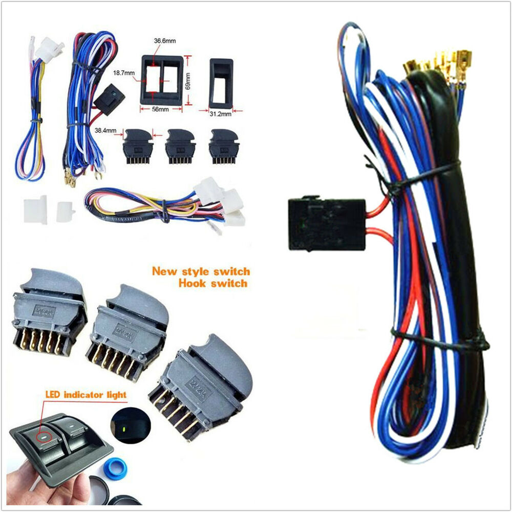 hight resolution of details about diy new dc 12v car power electric window switch with wire harness universal kits