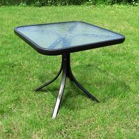 Small Square Table Outdoor Glass Top Side Patio Metal ...