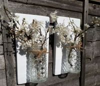 PAIR OF RECYCLED RUSTIC WOOD WOODEN WALL MOUNTED FLOWER ...