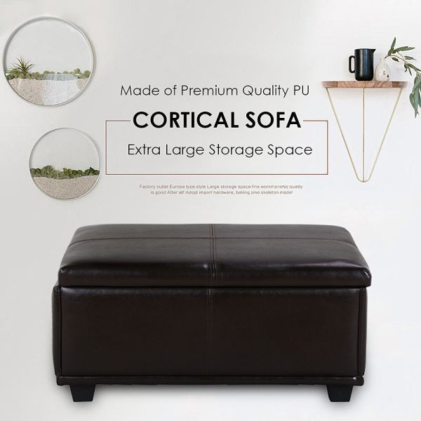 Brown Leather Storage Ottoman Coffee Table Tufted Top