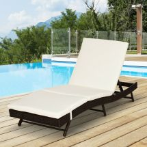 Outsunny Adjustable Pool Rattan Chaise Lounge Chair Patio