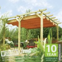 NEW GARDEN PATIO WOODEN RETRACTABLE PERGOLA WATERPROOF SUN ...
