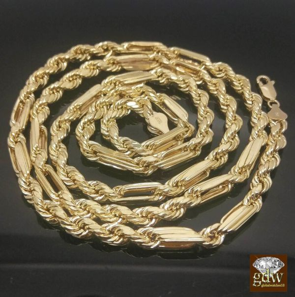 10k Yellow Gold Milano Rope Chain 24 Inches 6 Mm Palm Franco Miami Cuban