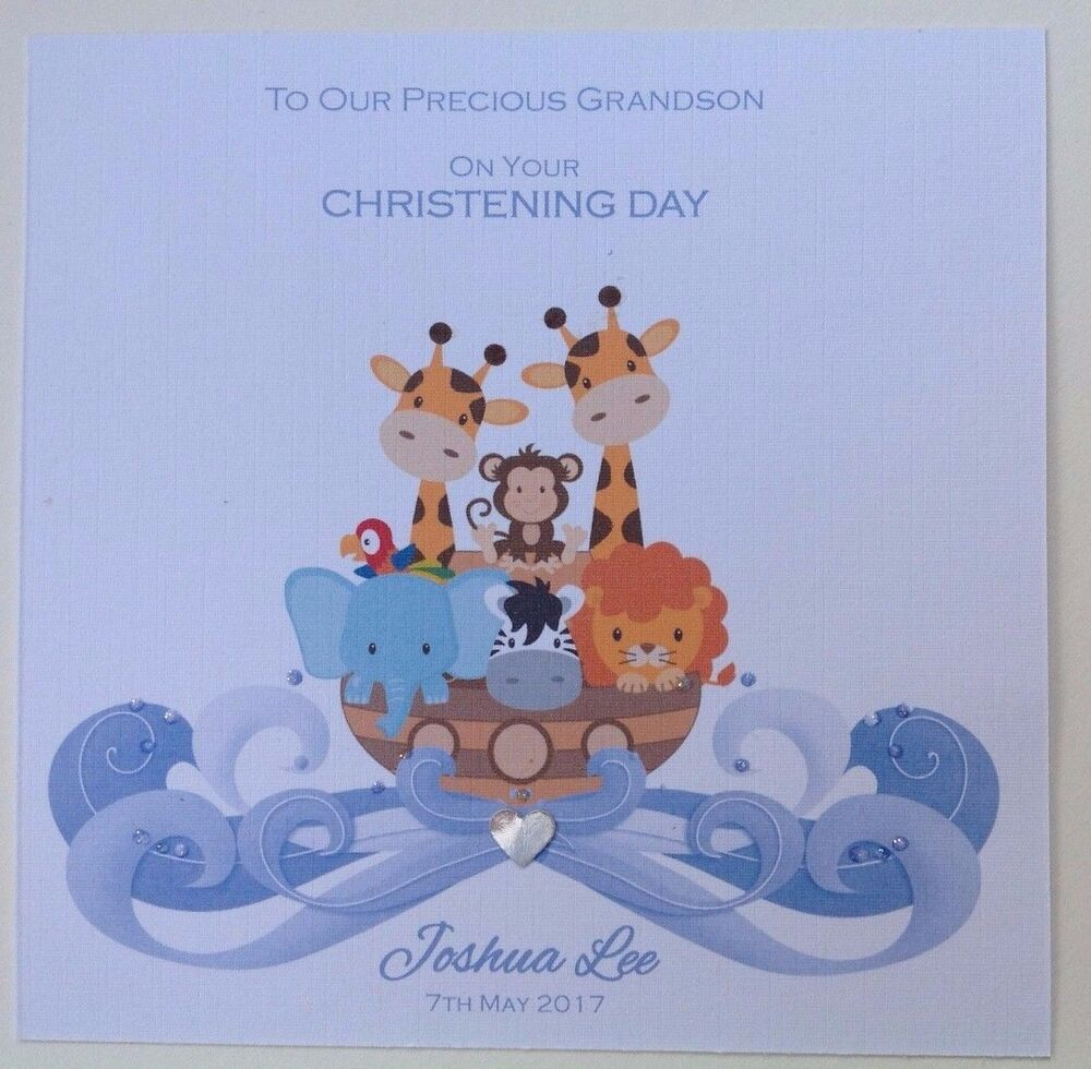 PERSONALISED Handmade CHRISTENING BAPTISM Card SON