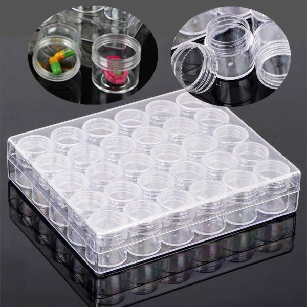 30pcs Box Plastic Clear Jewelry Beads Container