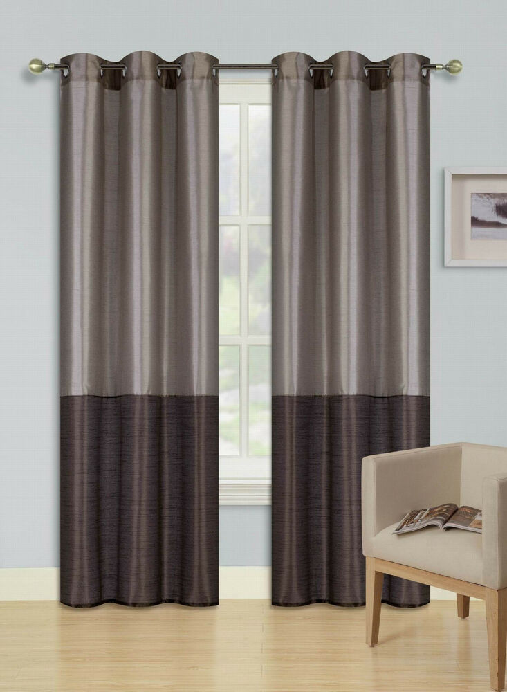 TAUPE  BROWN SET 2 TONE GROMMET WINDOW CURTAIN ECLIPSE BLACKOUT PANELS EID  eBay