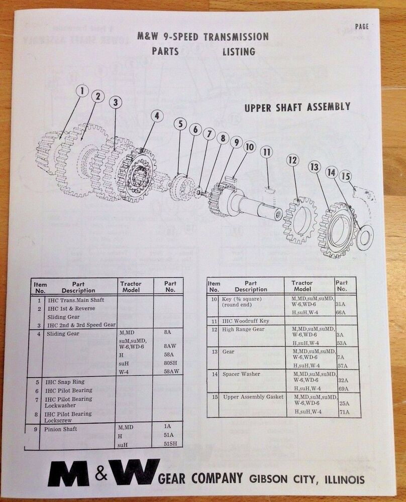 medium resolution of m w gear co 9 speed transmission ih farmall h m super m mta parts farmall 806 parts diagram farmall m trans parts diagram