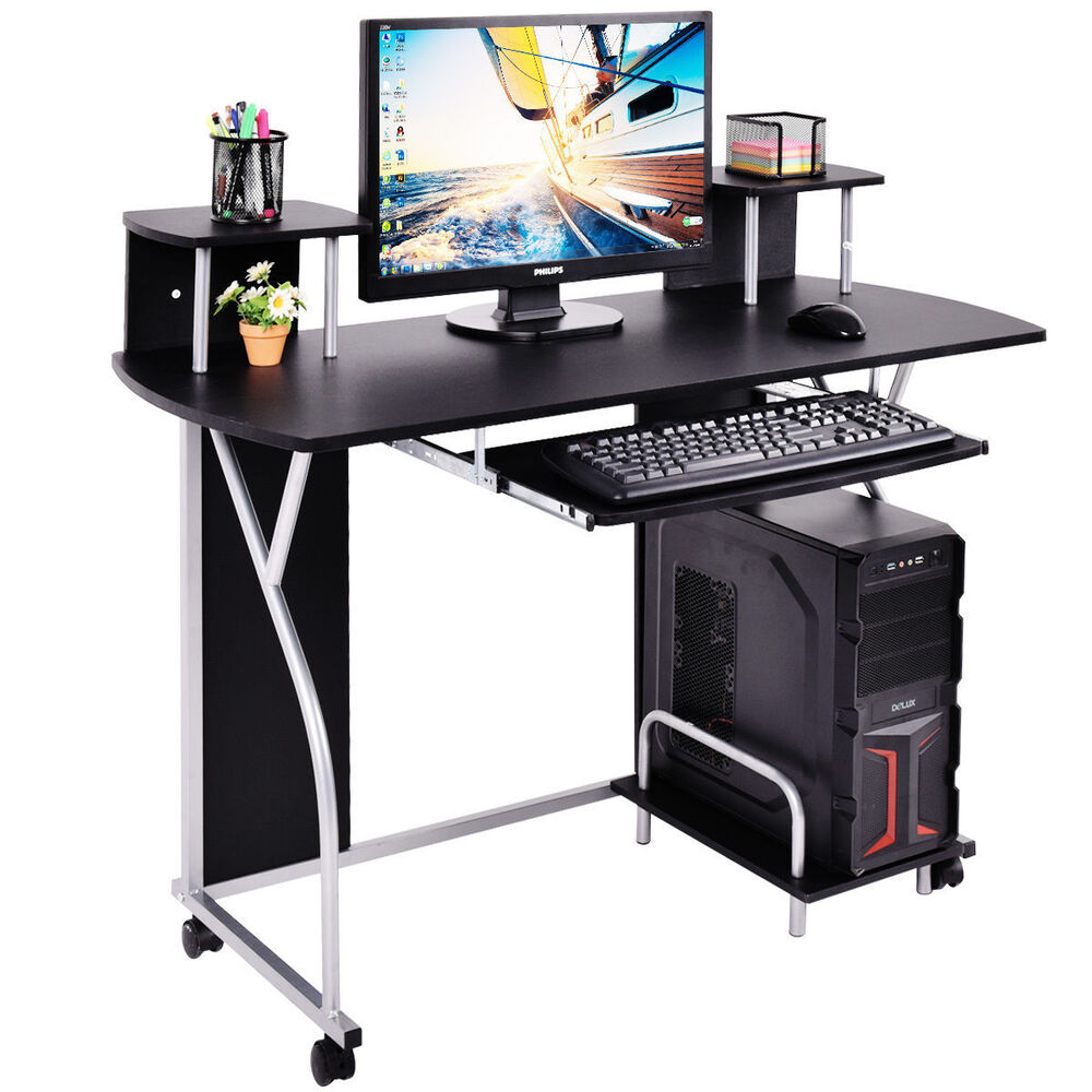 Black Rolling Computer Desk PC Laptop Desk Pull Out Tray