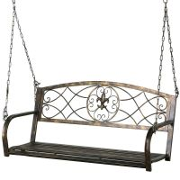 Fleur-De-Lis Iron Patio Hanging Porch Swing Chair Bench ...
