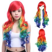 rainbow wig colorful hair mixed