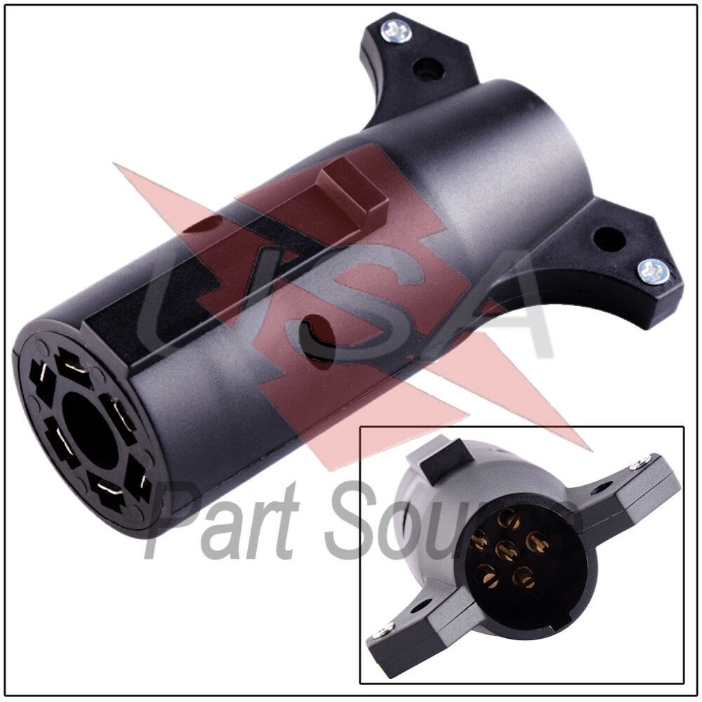 hight resolution of details about trailer light connector 7 pin to 6 adapter 7 way rv blade to 6 way round