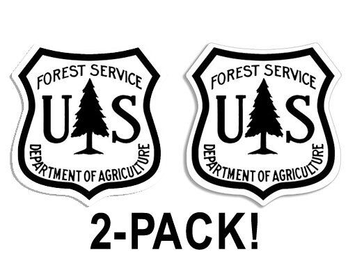 2-PACK: 2.5 inch WHITE US Forest Service Shield Stickers