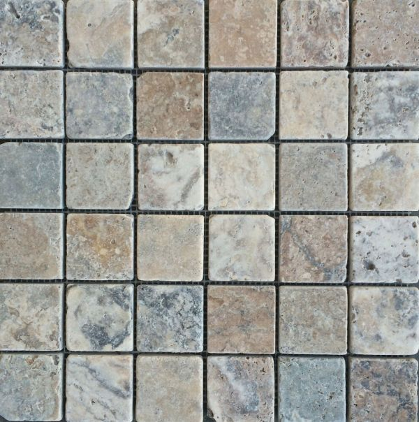 Antique Onyx 2x2 Tumbled Travertine Tile Floor And Wall
