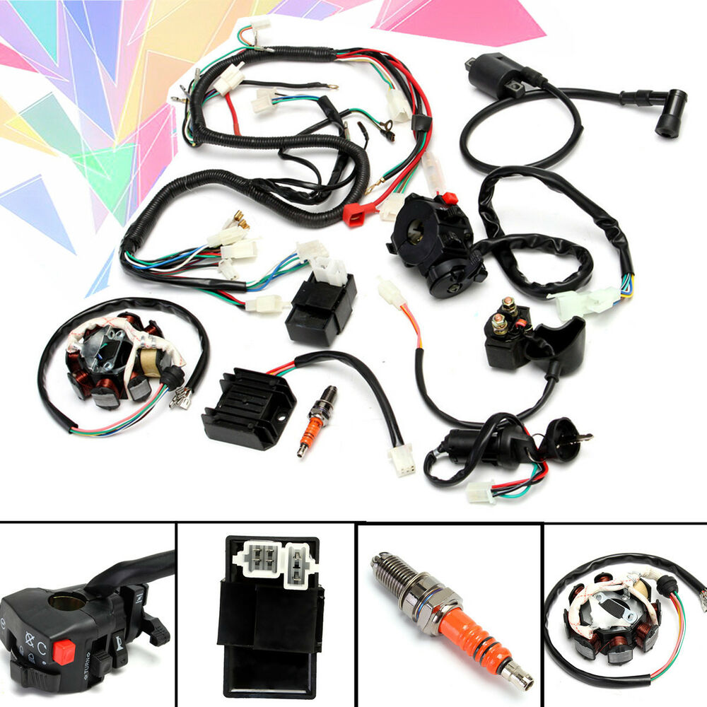 hight resolution of details about full electrical wiring harness kit f chinese dirt bike atv quad 150 250 300cc