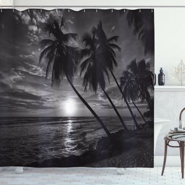 Tropical Shower Curtain Coconut Palm Trees Print