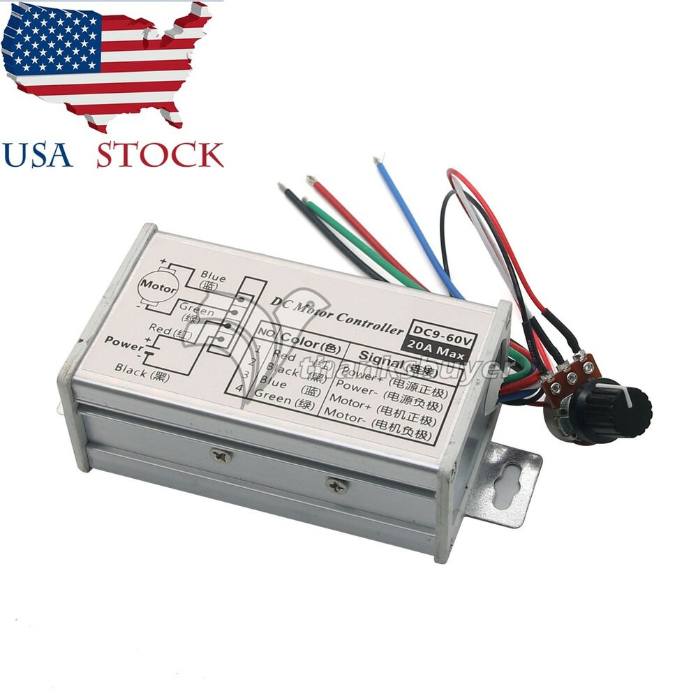 medium resolution of pwm dc motor stepless variable speed controller switch 12v 24v max 20a us ebay