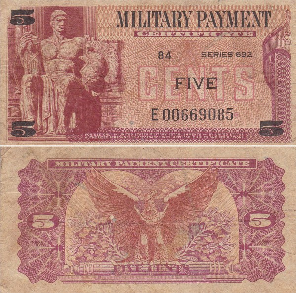 Military Payment Certificate Series 692 5 Cent Replacement