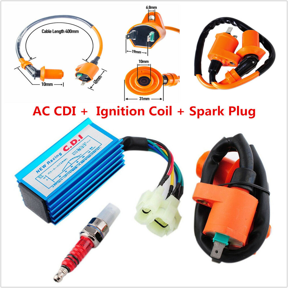 medium resolution of details about 6 pin racing ac cdi ignition coil spark plug for gy6 50cc 150cc scooter atv