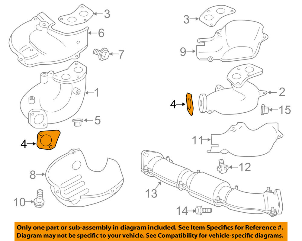 hight resolution of details about subaru oem 09 13 forester exhaust manifold cross over pipe gasket 44011fa020
