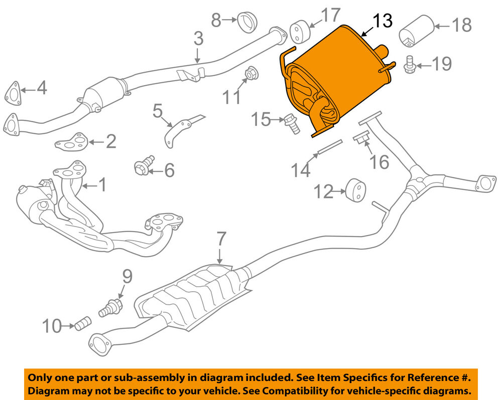 hight resolution of details about subaru oem 14 16 forester 2 5l h4 muffler 44300sg010
