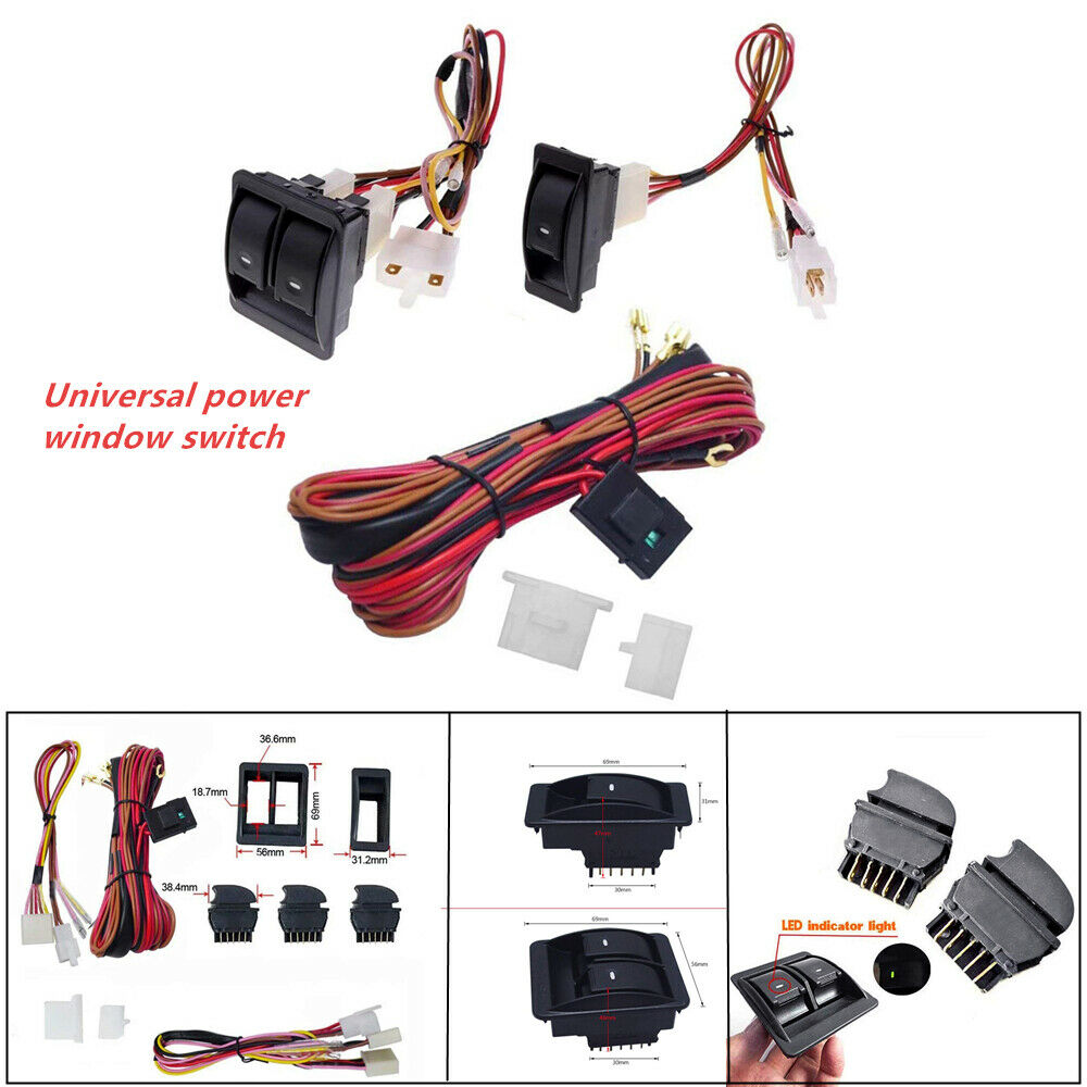 hight resolution of details about universal car electric power window switch 12v wire harness kit for 2 doors type