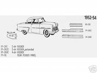 Ford Mercury Merc 4 Door Rocker Panel, Right 1952,1953