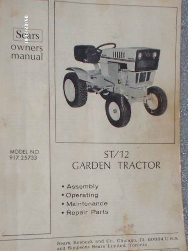 917.25733- Sears Suburban ST/12 Tractor Owners Manual on