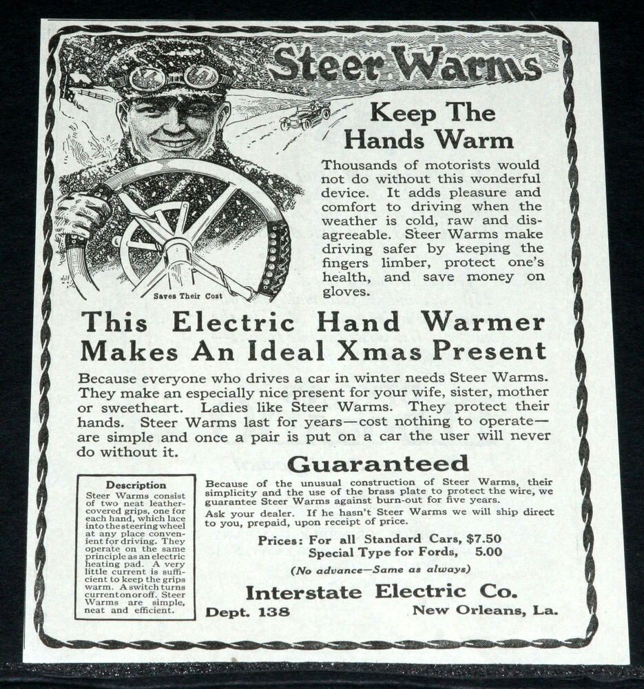 hight resolution of details about 1919 old magazine print ad motor car steering wheel electric hand warmer art