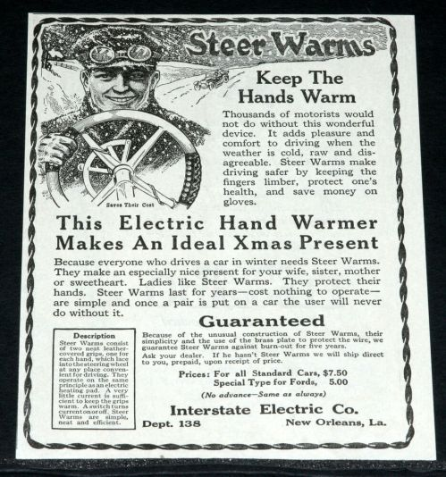 small resolution of details about 1919 old magazine print ad motor car steering wheel electric hand warmer art