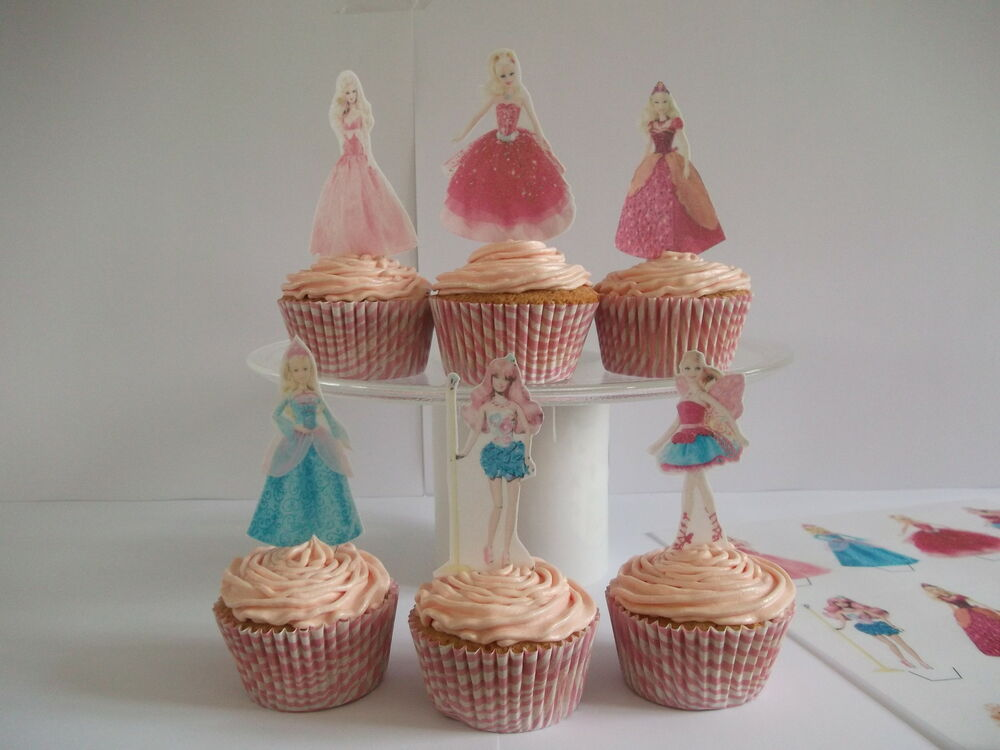 12 BARBIE EDIBLE CUPCAKE/FAIRY CAKE TOPPERS **STAND UPS