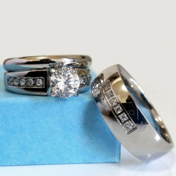 Wedding Ring Set And Match Bands Mens Womens Engagement Stainless Steel