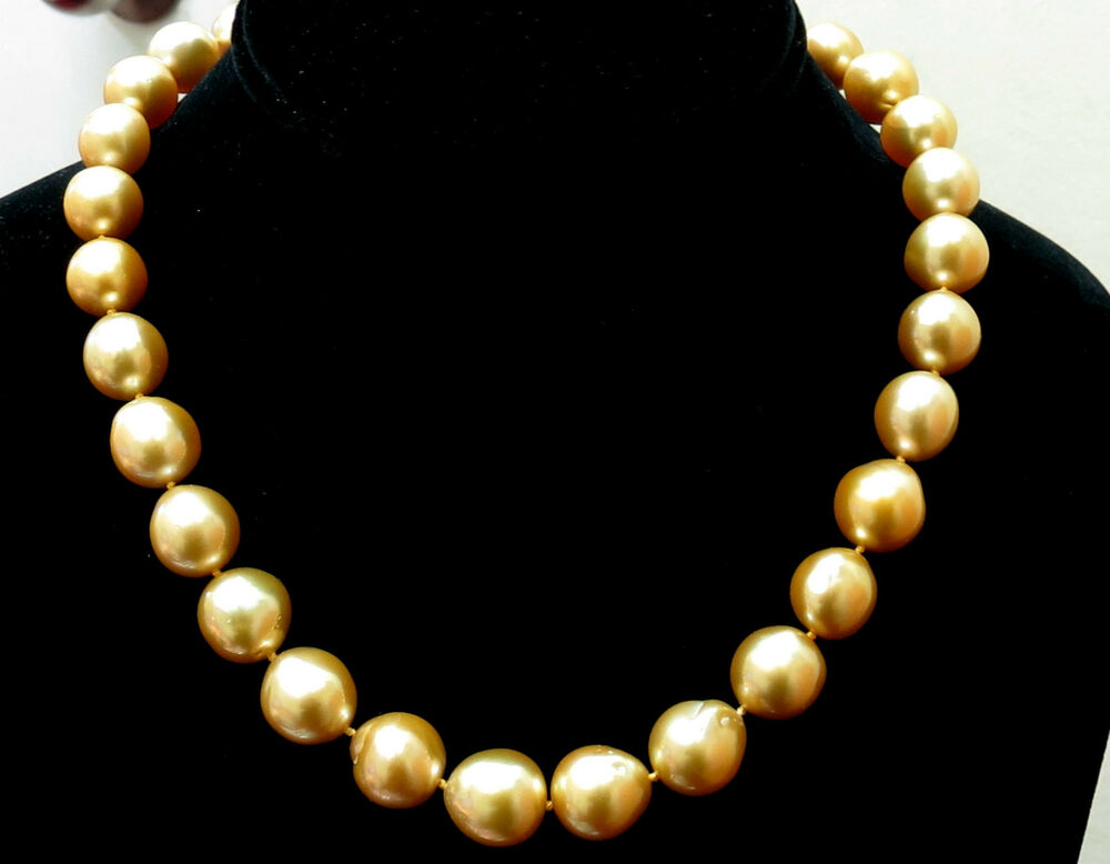18000 18KT 13M NATURAL SOUTH SEA YELLOW PEARLS NECKLACE 50CT DIAMOND CLASP EBay