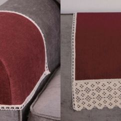 Chair Arm Protectors Rail Design Chenille Burgundy Caps And Backs (sofa,furniture Covers,protector) | Ebay