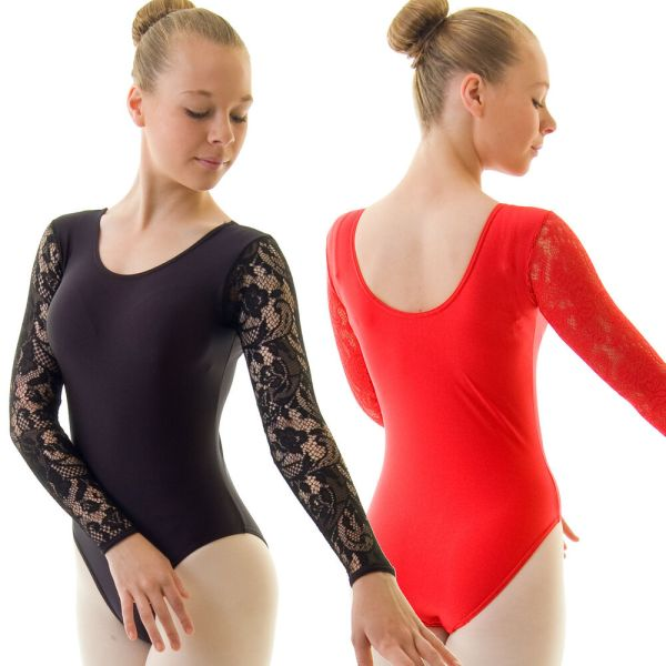 Ladies Long Sleeve Floral Lace Ballet Dance Leotard Shiny