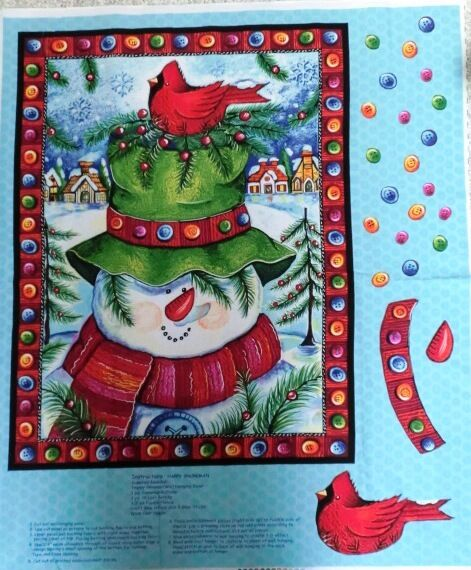 SNOWMAN FABRIC PANEL Quick QUILT HAPPY SNOWMAN WALLHANGING