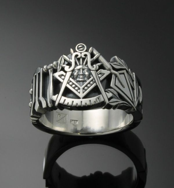 Master #001 Sterling Silver Masonic Ring Oxidized