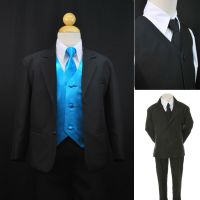 Toddler Boy Formal Party Black 7pc Tuxedo Suits Turquoise ...