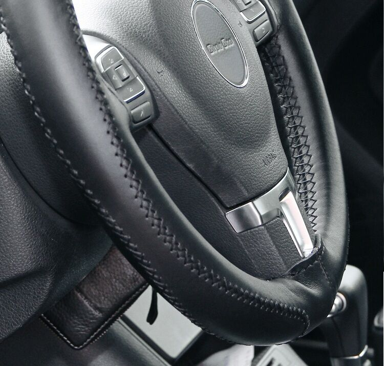 Black PVC Leather Steering Wheel Stitch Wrap Cover Needle