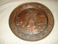 Vintage Windmill Brass Metal Decorative Wall Plate
